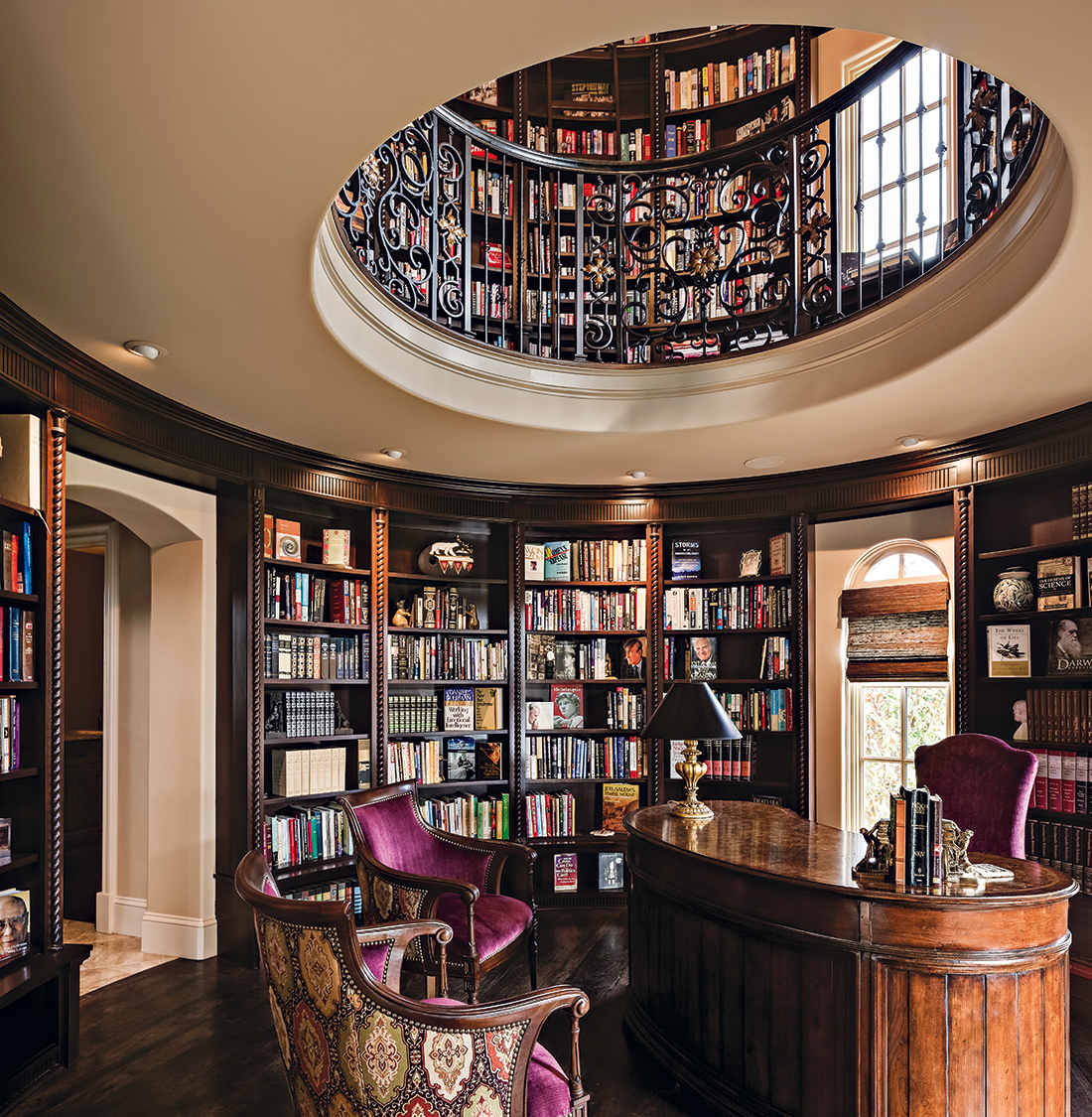 Home Office Library Design Ideas: Tuscan-Inspired Home Library Comes Full Circle: A Design