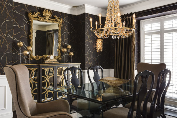 Gold and Black Dining Room Kansas CIty interior Designer