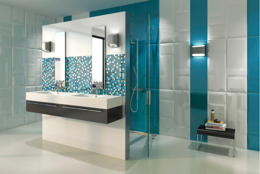 3 dimensional wall tile modern bathroom kansas city interior design blog - Modern Bathroom Wall Tile Designs