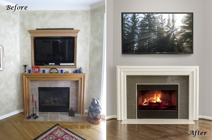 before and after fireplace kansas city interior designer