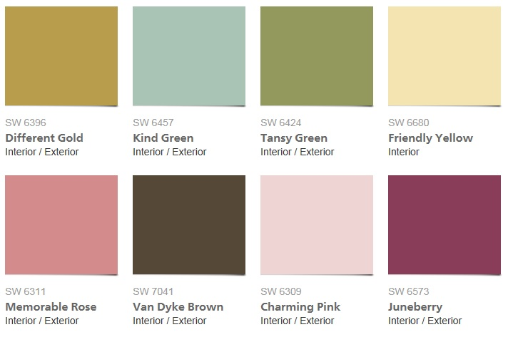 2016 Sherwin Williams Mas Amor Por Favor Color Palette