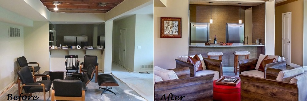 Lower Level Before And After Design Connection Inc Kansas City Interior  Designer