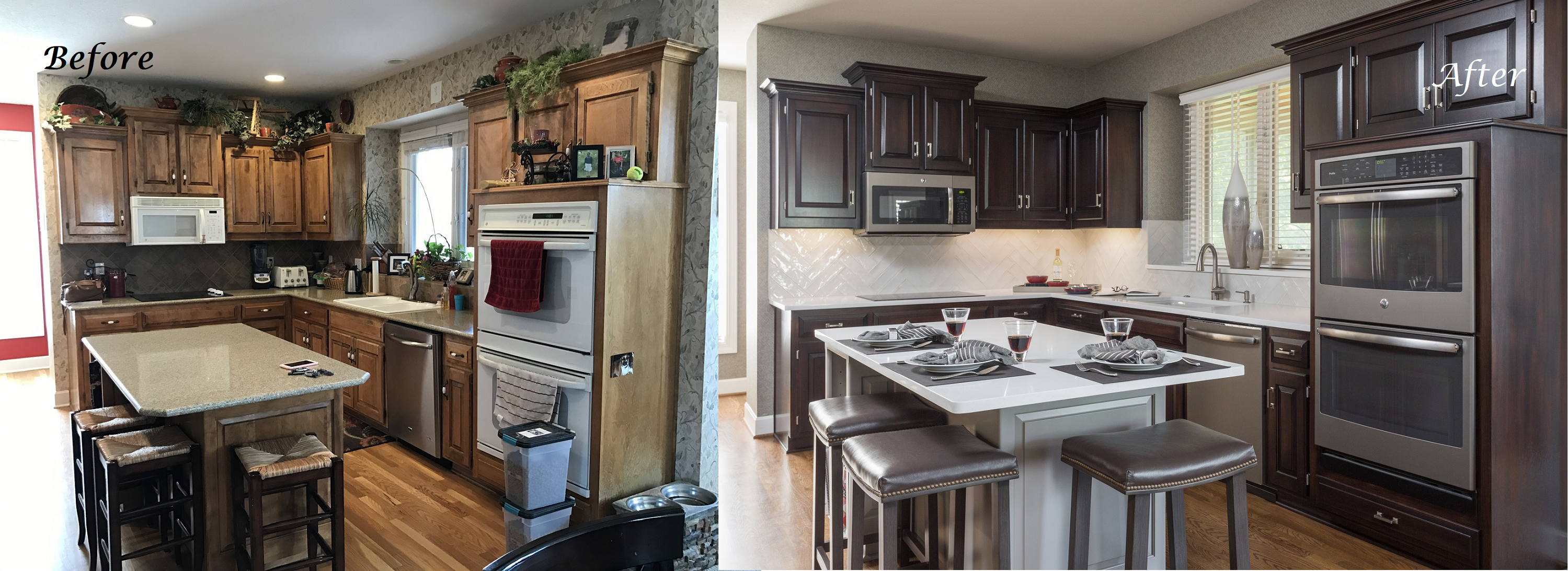 Original Kitchen Design. With the budget and my clients  wish list in mind we transformed kitchen by faux painting cabinets a java finish lightened up island Year In Review Our Favorite Interior Design Projects of 2017