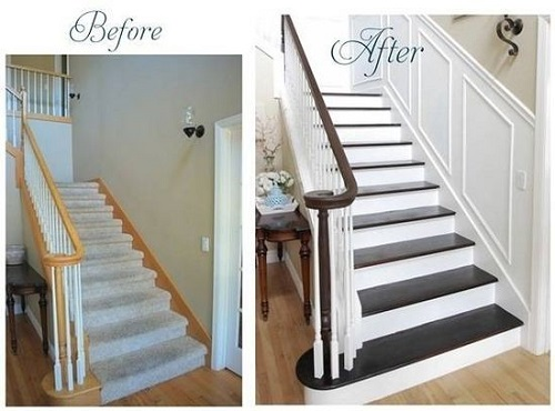 Before and After Staircase Design Connection Inc Kansas City Interior Design Blog