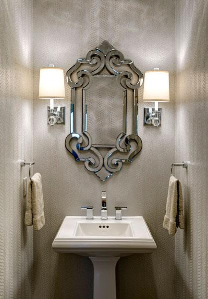 Snakeskin Wallpaper Jewel Box Powder Room by Design Connection Inc Kansas City Interior Design
