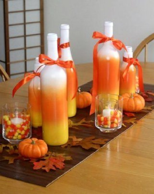 Candy Corn Painted Wine Bottles Design Connection Inc Kansas City Interior Design Blog
