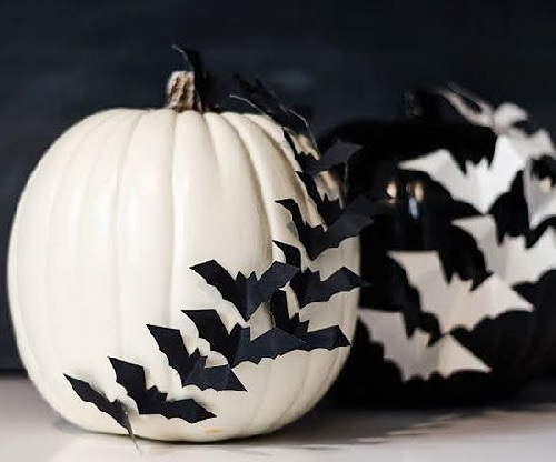 White and Black Batty Pumpkins Design Connection Inc Kansas City Interior Design