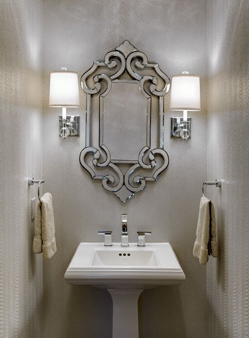 Jewel Powder Room Snakeskin Wallpaper Design Connection Inc Kansas City Interior Design