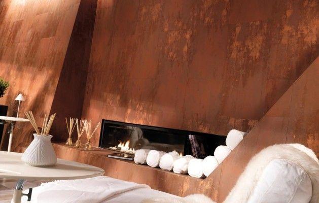 Petina copper metal look porcelain tile Kansas City Interior Design blog