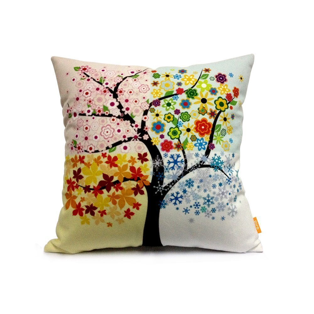 Rainbow Seasons Tree Throw Pillow