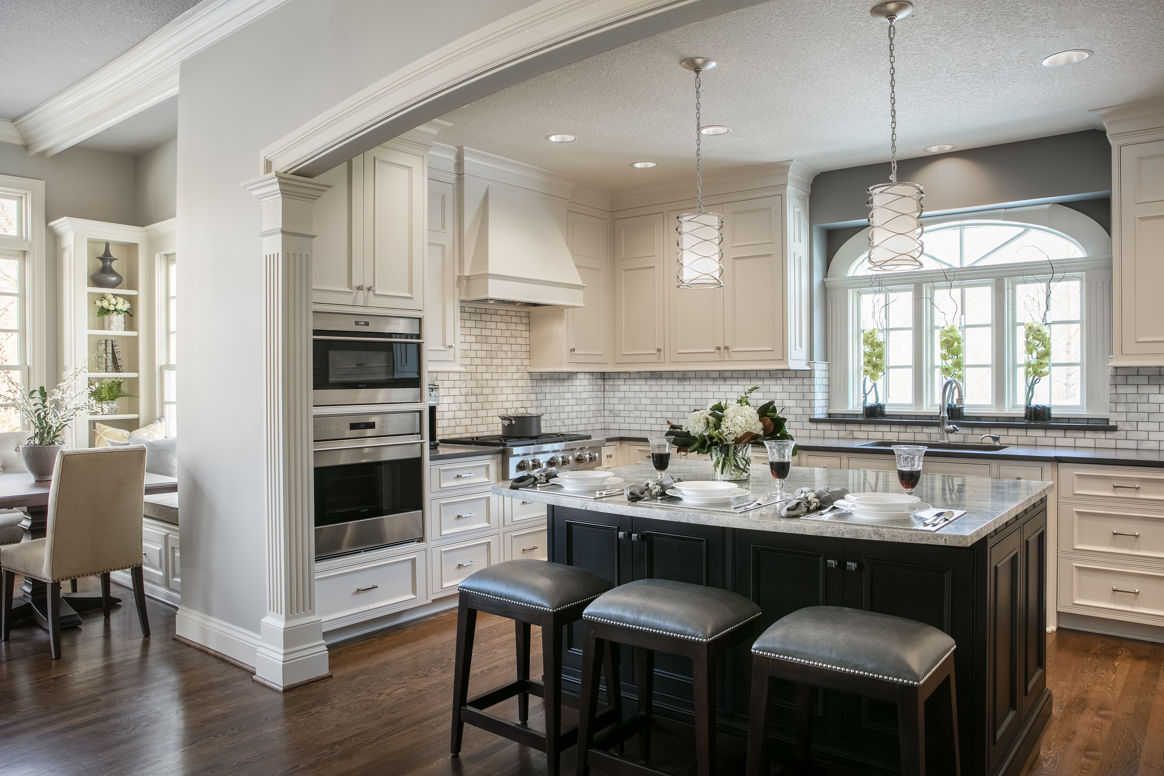 The Cream Colored Inset Cabinets Brighten This Space And Conceals The  Refrigerator, Providing A Seamless To Look In This Newly Updated Kitchen.