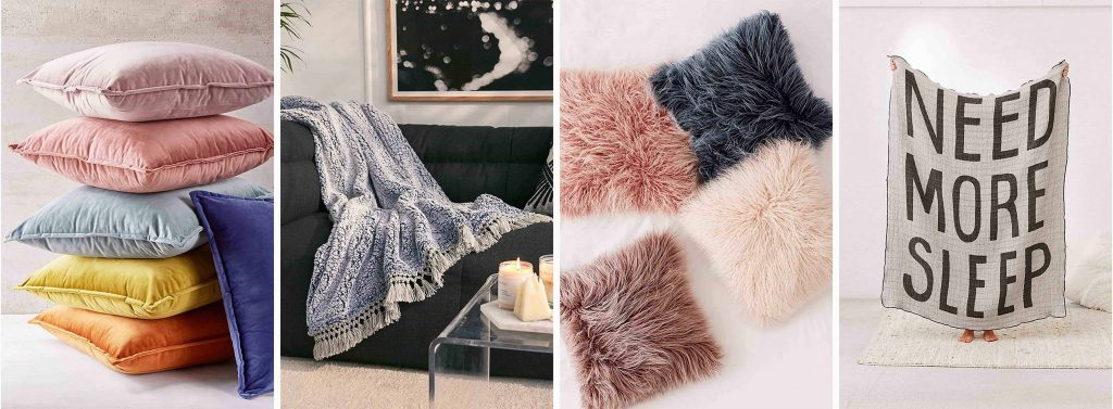 soft and cozy throw pillows and throws